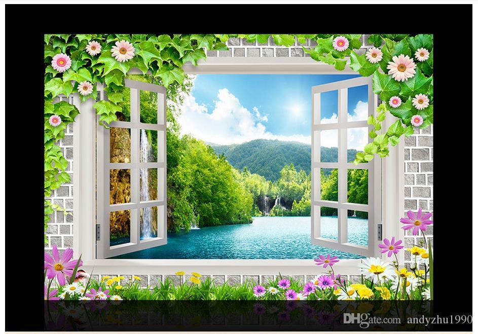 3D фото обои на заказ 3D настенные фрески обои настенная роспись окна цветы фон стены 3d гостиная декор стен