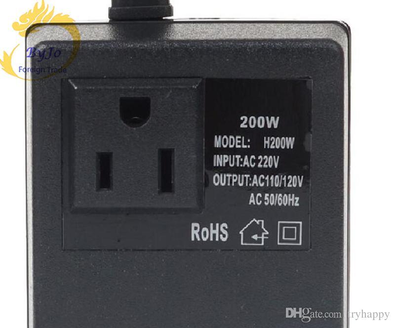 Transformador de voltaje de 200 vatios CA de 220 V a 110 V descender O CA de 220 V a 110 V intensificar Adaptador de enchufe de viaje UE / EE. UU.