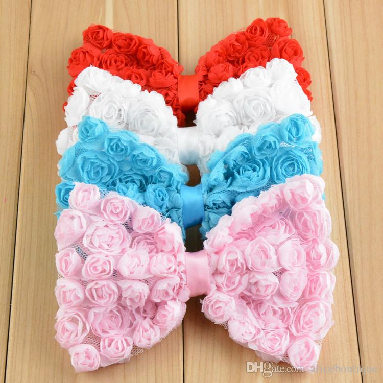 free shipping 20pcs/lot Large size Baby girl headdress 12cm Boutique Hair Bows Chiffon Rose Flower Bow DIY headband hair accessories H080