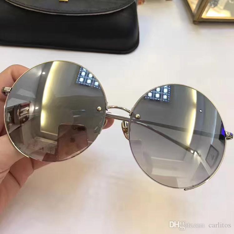 Top quality Newest Brand 627 sunglasses women's luxury Gold mirror lens design sunglasses large Round frameless popular sunglasses with box
