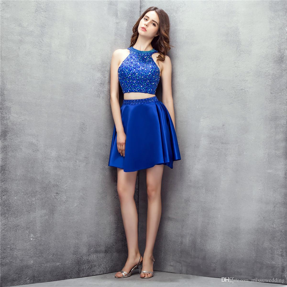 Großhandel Royal Blue Zwei Stücke Short Prom Kleider Halter ...