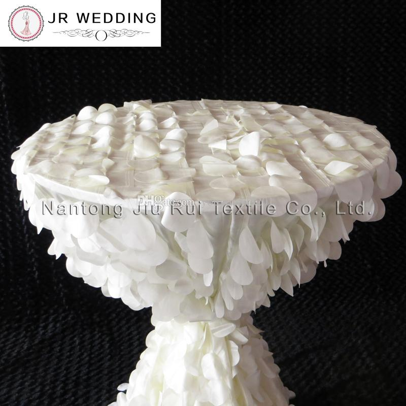 132 '' Tovaglia rotonda di forma del wafer di taffettà increspata colore avorio 3D uso di nozze Trasporto libero