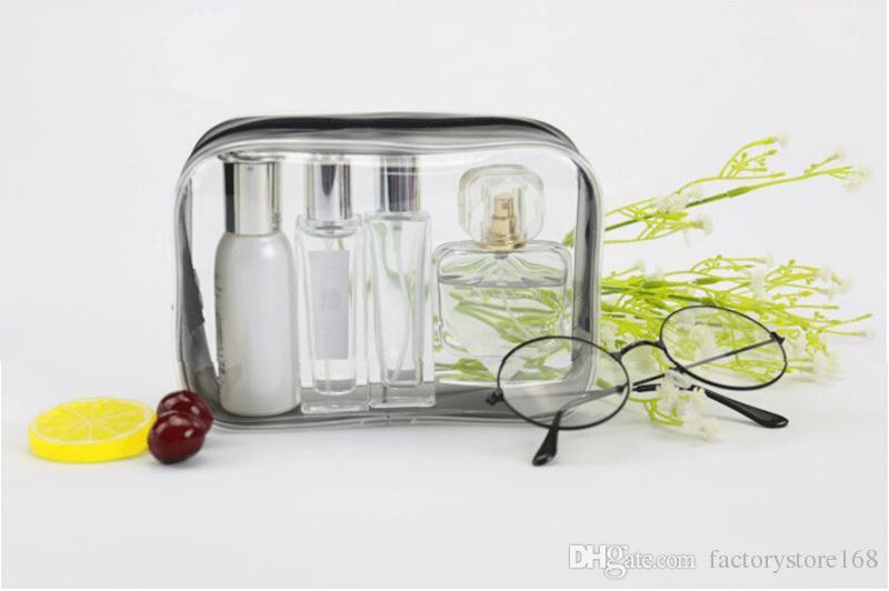 Neue Mode Klar Kulturbeutel Make-Up Taschen PVC Kunststoff Reise Kosmetiktasche mit Reißverschluss Tragbare Designer Kosmetiktasche