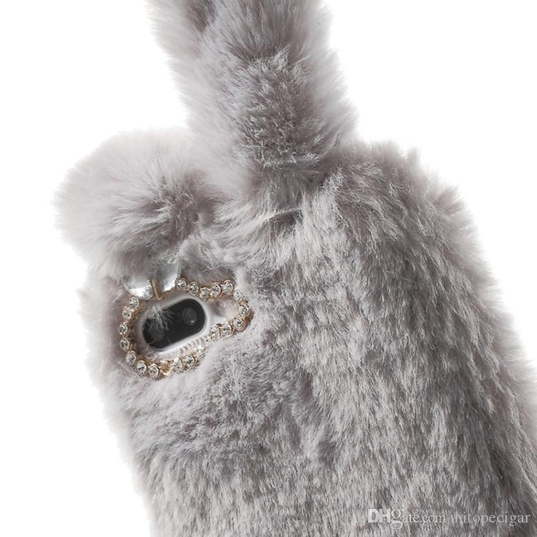 Luxury Lady Phone Case Winter Warm Rabbit Ear Hair Fluffy Fur Ball Diamond Back Plush Cover for Iphone 6 6s plus 7 7plus x XS XR XS Max