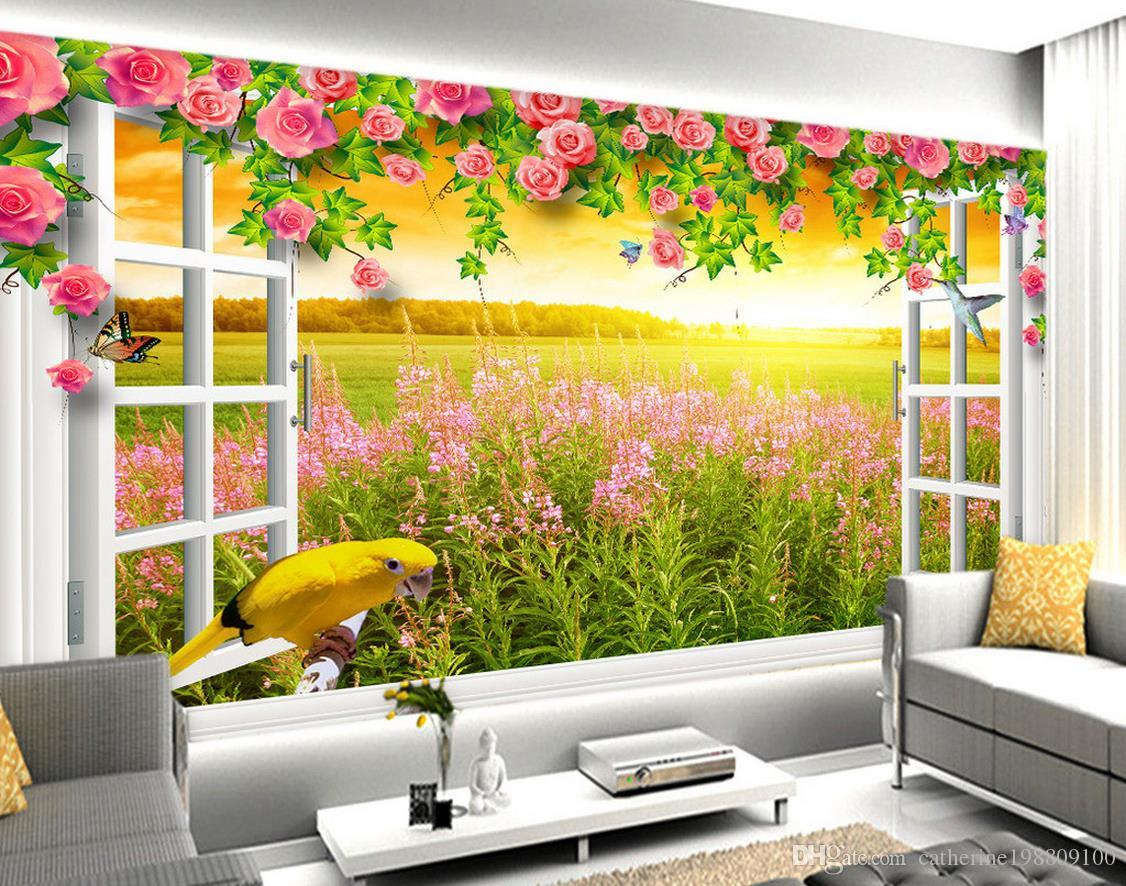 High Quality Customize size Modern White window flower vine daylight field view 3D background wall wallpapers for living room
