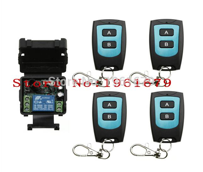 Wholesale- DC 12 v mini wireless remote control switch 1channal Intelligent  family system 1X receiver+4X waterproof transmitter