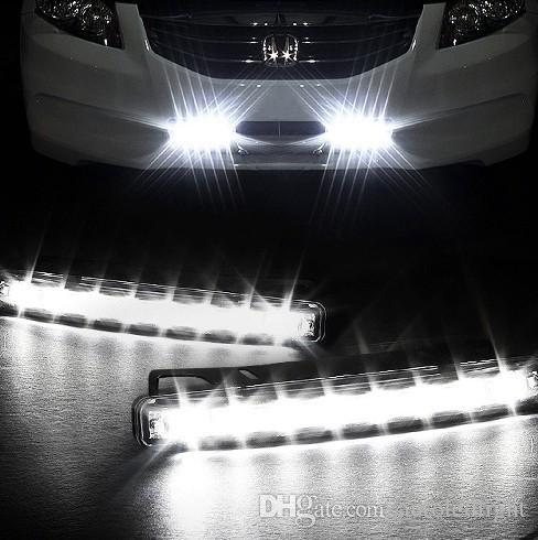 Lighting universal white waterproof 8 LED 12V DRL Driving Daytime Running Lights Kit All day Fog Light Lamps.
