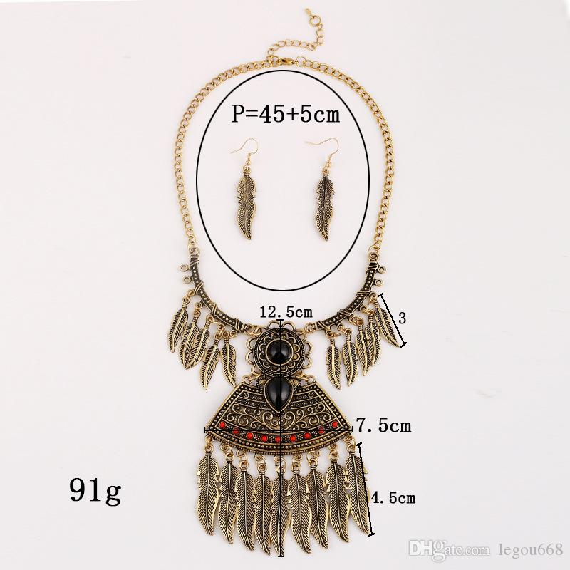 2017 Europe and the United States Necklace exaggerated fashion, multi layer tassel Leaf Necklace, long clothing accessories, Resin Necklace