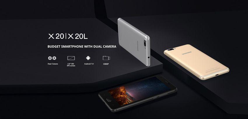 Original DOOGEE X20 X20L Android 6.0 MTK6580 Quad Core 5.0 inch IPS Screen RAM 2GB ROM 16GB 4G 5MP Rear Camer WCDMA Dual SIM Mobile Phones