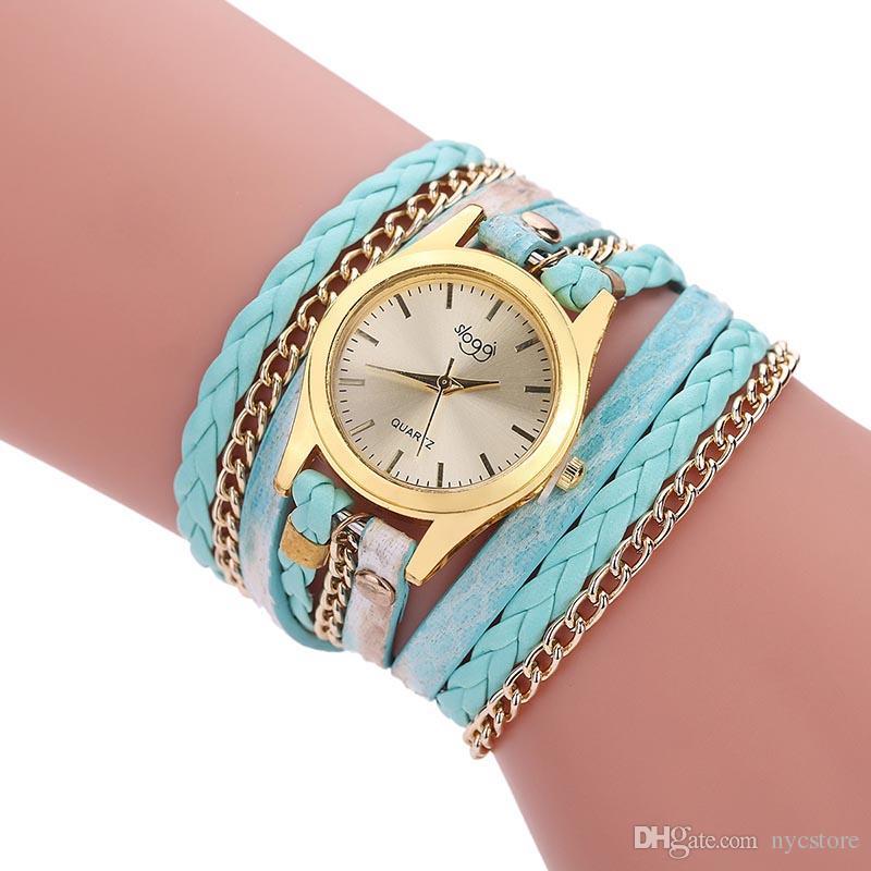 De Buena Calidad Correa de lujo trenzada Winding remache pulsera de cuero 2017 nuevas mujeres relojes de cuarzo analógico reloj muñeca Ladies Watch barato