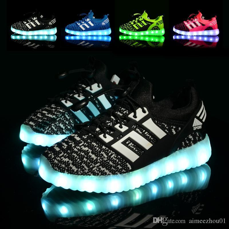 6c878989ee2b New Luminous Shoes Children LED Glowing Boys Girls Fashion USB Rechargeable  Lighted Up Shoes Charger Sneakers Casual Shoes Kids Men Kids Shoes On Sale  Girl ...