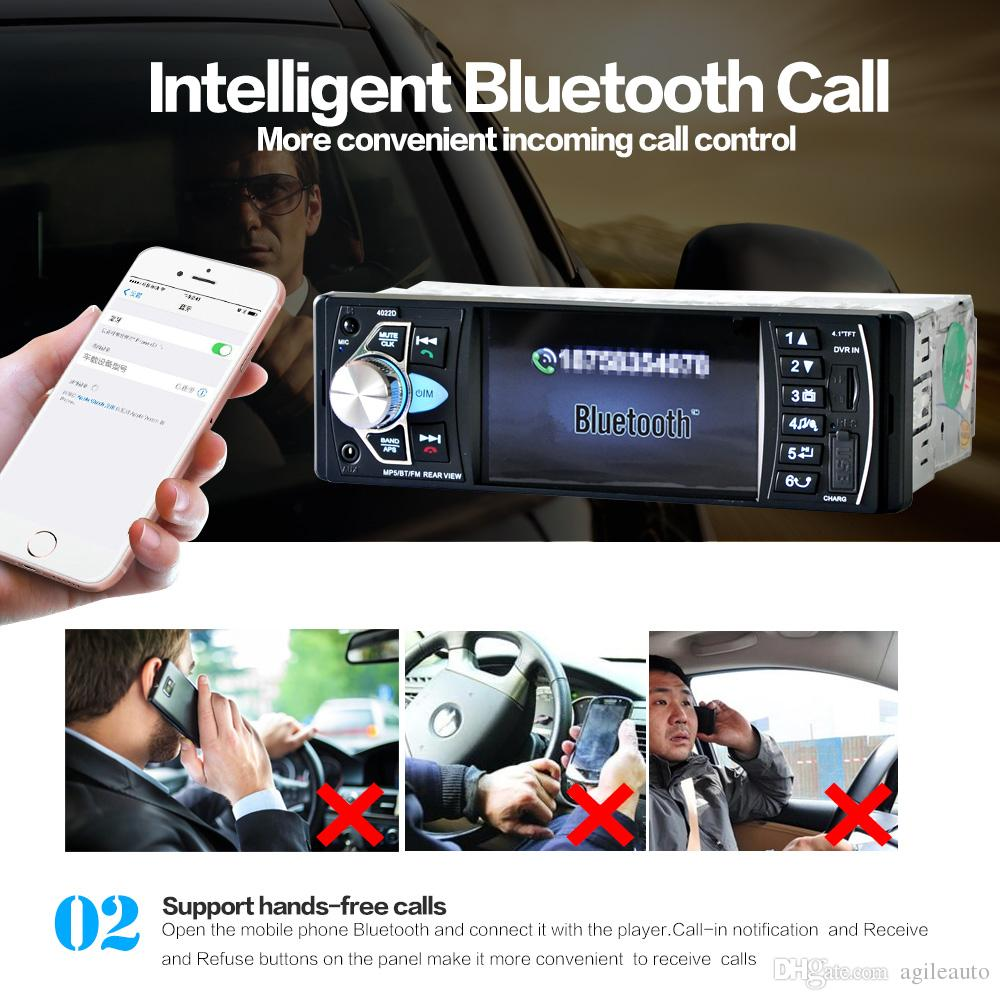 4.1 Inch 1 Din HD Bluetooth Car Stereo Radio Auto MP3 MP5 Audio Player Support USB FM TF AUX + Backup Reverse Rearview Camera CMO_21N