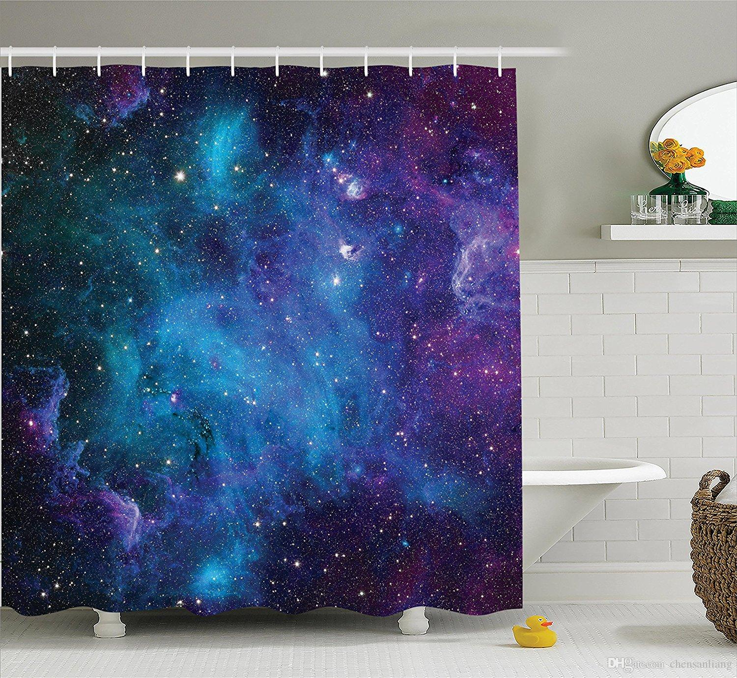 2017 shower curtain galaxy stars in space navy purple bathroom