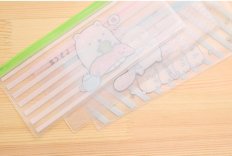 Cute Molang Rabbit Cartoon Sumikko Gurashi Stripe PVC Pencil Case Stationery Storage Organizer Bag File Folder Document Bag