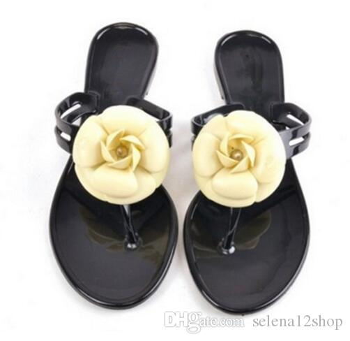 66bc679ff New Fashion Womens Camellia Flower Jelly Flat Sandals Ladies Sexy T Strap Summer  Beach Slippers Shoes Black Beige Flip Flops Salt Water Sandals Bridesmaid  ...