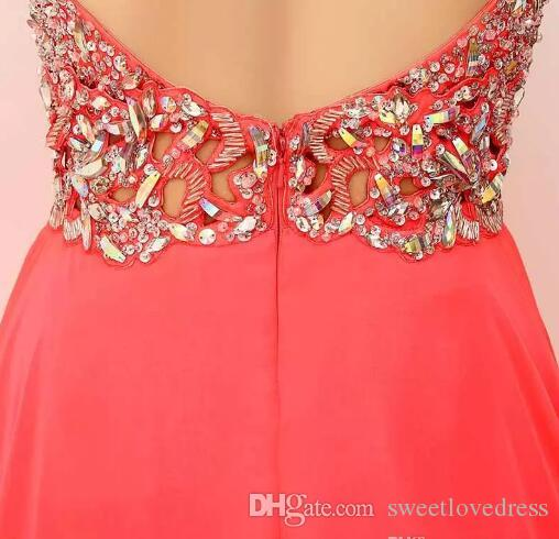 A-Line Spaghetti Coral Elegante Dividida Vestido de noche Sweet Sparkle Gasa Barrido tren Fiesta Vestidos de fiesta Lentejuelas Vestido de famosos
