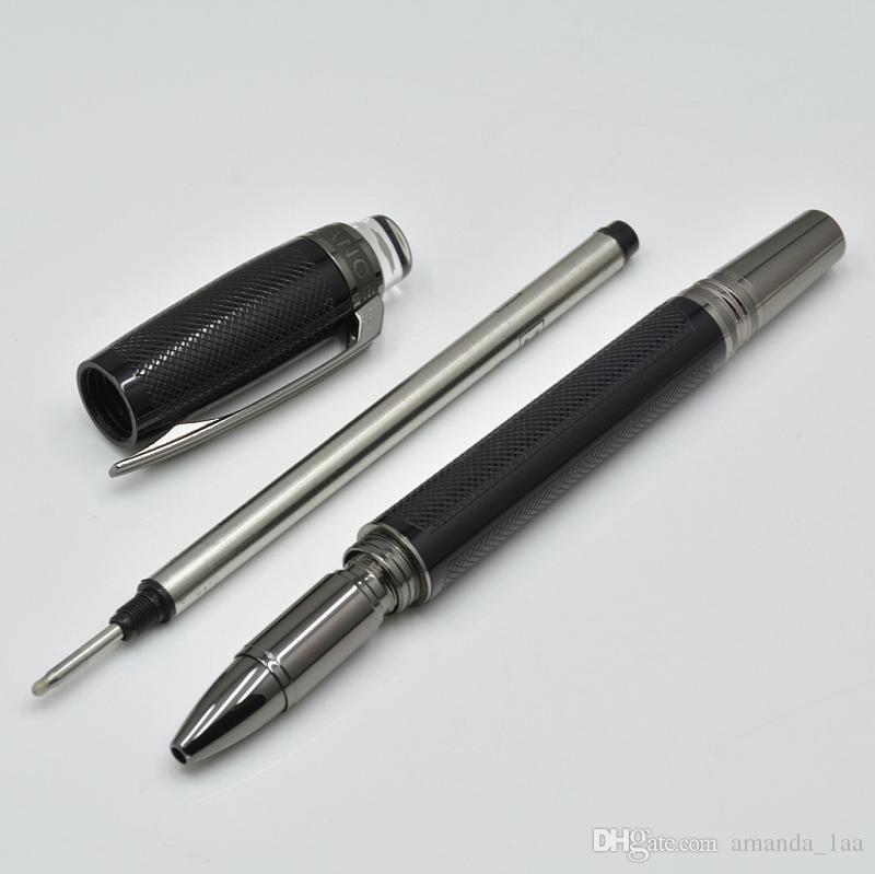 Luxuxkristallglas flache Top-Design schwarz Korn Rollenkugelfeder / Kugelschreiber Briefpapier Büro Schulbedarf Marke Schreibstifte