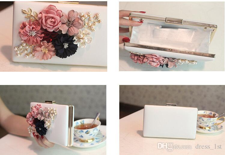 Fresh Romantic 2017 Latest Florals Pearls Women Clutch Handbags For Party Pom Evening Cheap White Pink Bridal Bags EN12191
