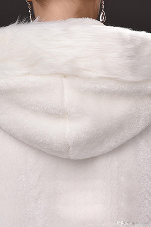 Winter War Faux Fur Bridal Cloak Warm Wraps Hooded Trim Floor Length Perfect Abaya Jacket for Wedding Cape Wraps Jacket CPA915