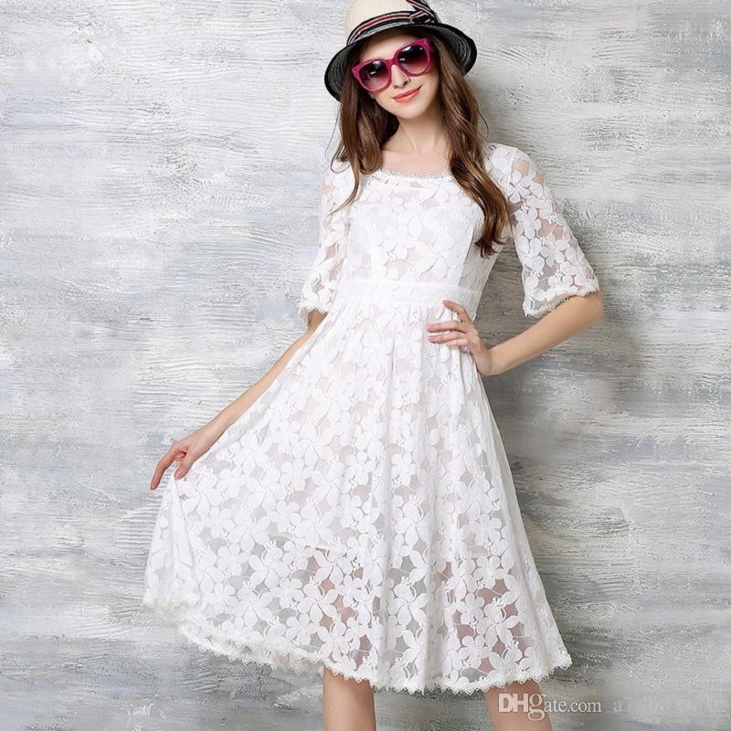 Women Dress 2017 New Brand Summer European Sweet Temperament Cultivate  One S Morality Lace Dress Half Sleeve Black White Dresses NYC220 Long  Sleeve Short ... 4304ff3d229b