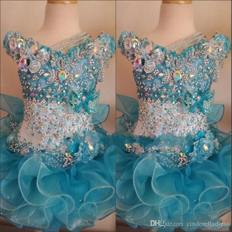 2019 Cupcake Pageant Dresses for Little Girls Baby Beaded Organza Cute Kids Short Prom Gowns Infant Ocean Blue Crystal Birthday Party Skirt