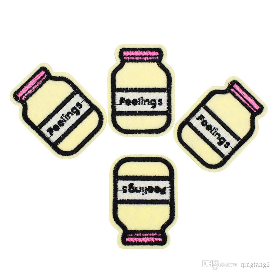 Milk bottle embroidery patch for clothing iron-on patch sewing supplies accessories badge stickers on clothes applique iron on patches