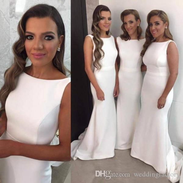 Elegante zeemeermin lange bruidsmeisje jurken ivoor bateau halslijn mouwloze gemonteerde meid van eer jurken bruiloft gasten formele jurk met trein