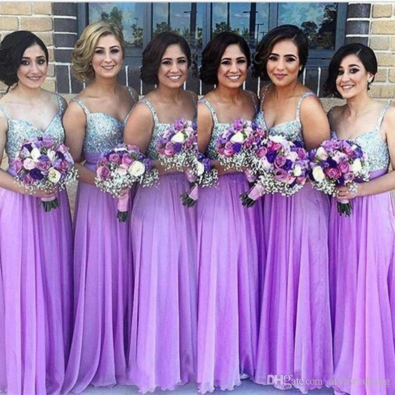 c3dc1ab201 Purple Bridesmaid Dresses 2019 A Line Spaghetti Strap Beaded Sequined  Chiffon Wedding Guest Dress Long Pleats Zipper Cheap Party Gowns Cadbury  Purple ...
