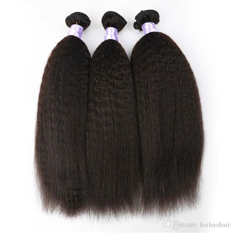 8A Malaysian Kinky Straight Hair Coarse Yaki Hair Wefts,Natural Black Afro Kinky Straight Weave Italian Yaki Human Hair Bundles
