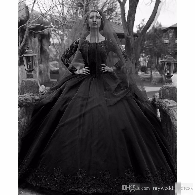 Discount Black And White Gothic Wedding Dresses Real: Discount Sexy Long Sleeve Ball Gown Black Gothic Wedding