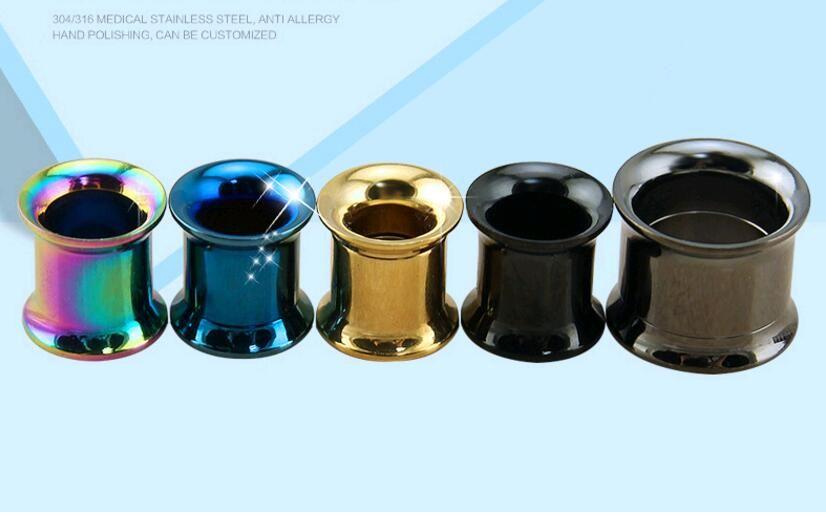 Fashion Trendy 316L Stainless Steel Ear Plugs Gauge Silver and Black Body Jewelry Piercing Medical Steel Ear Tunnels Unisex Wholesale