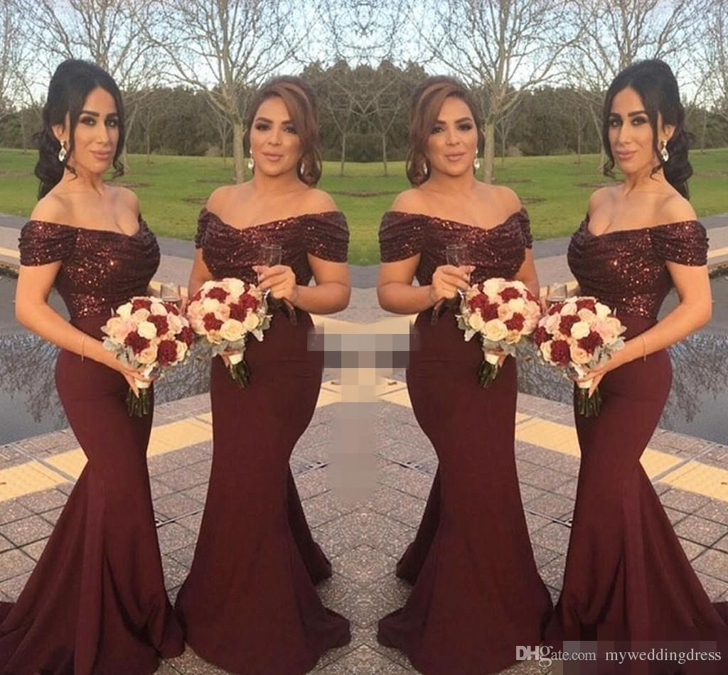 Cheap burgundy sequins off shoulder long bridesmaid dresses short 25 ombrellifo Choice Image