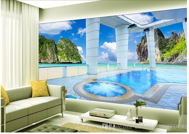 Мальдивы балкон с видом на море кокосовое дерево обои для стен 3 d для гостиной