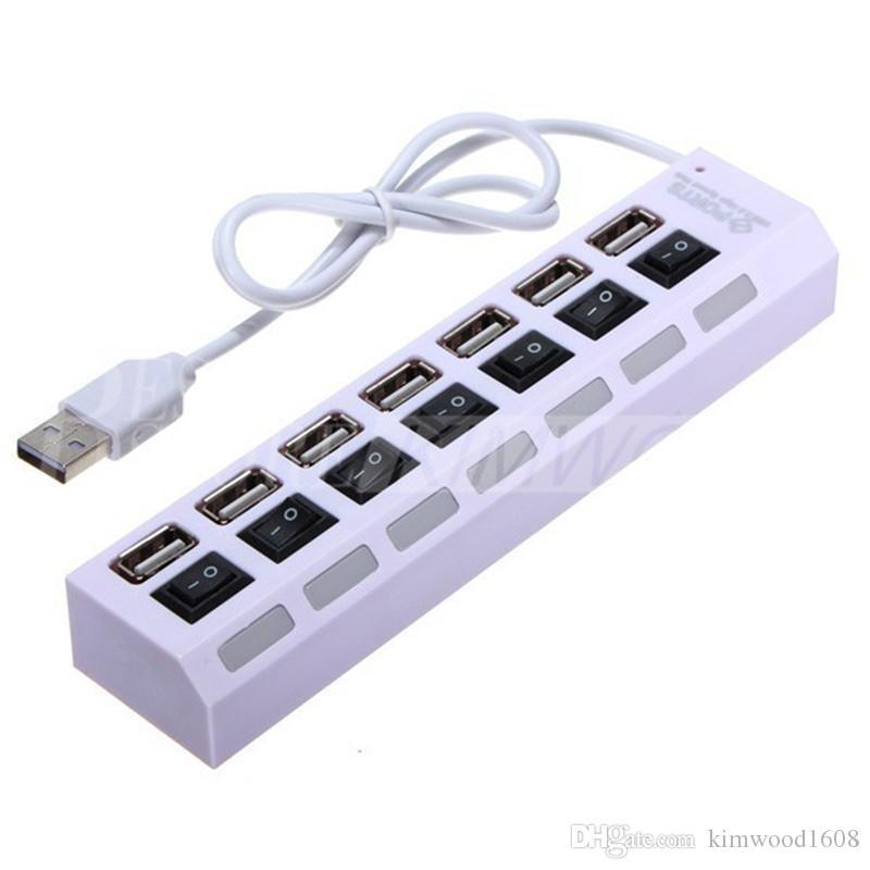 Hohe Qualität 7 Häfen LED USB-Nabe-Hochgeschwindigkeitsadapter USB-Nabe mit An- / Aus-Schalter für PC Laptop-Computer 60038 DHL
