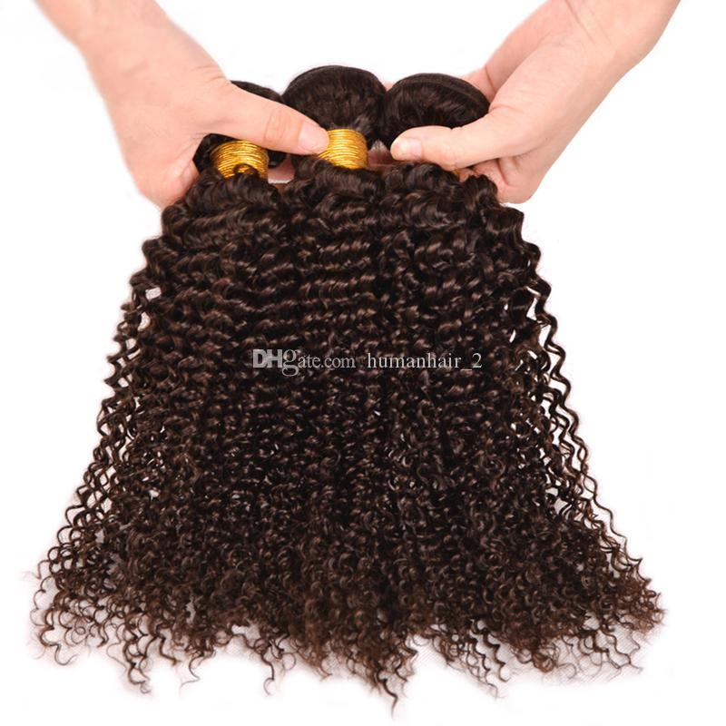 brasilianisches braunes lockiges Haar des neuen Brauseschopfes Menschenhaarverlängerungen unverarbeitete cholochate braune Farbe afro verworrenes Lockenhaar /
