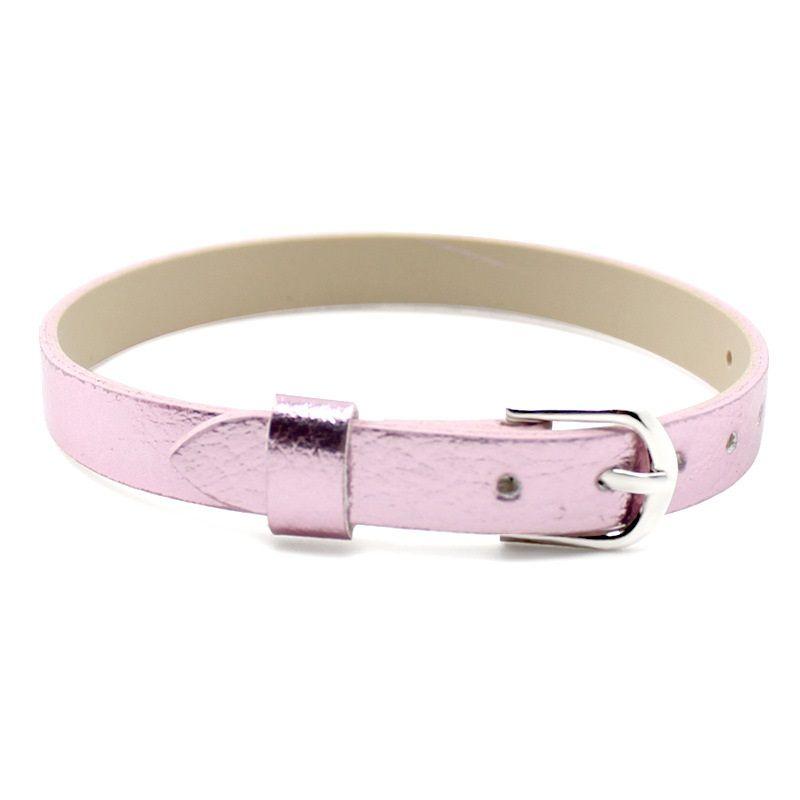 8MM PU Leather Metal Wristband Bright watch band Bracelets DIY Accessory Fit Slide Letter & noosa snap button bracelet