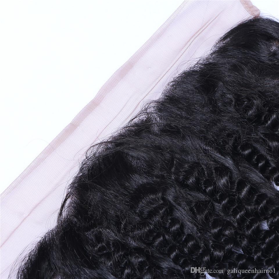 Brasiliana Riccio crespo 13x4 Orecchio all'orecchio Pre Pizzicato Frontale Chiusura con Baby Hair Remy Parte libera dei capelli umani