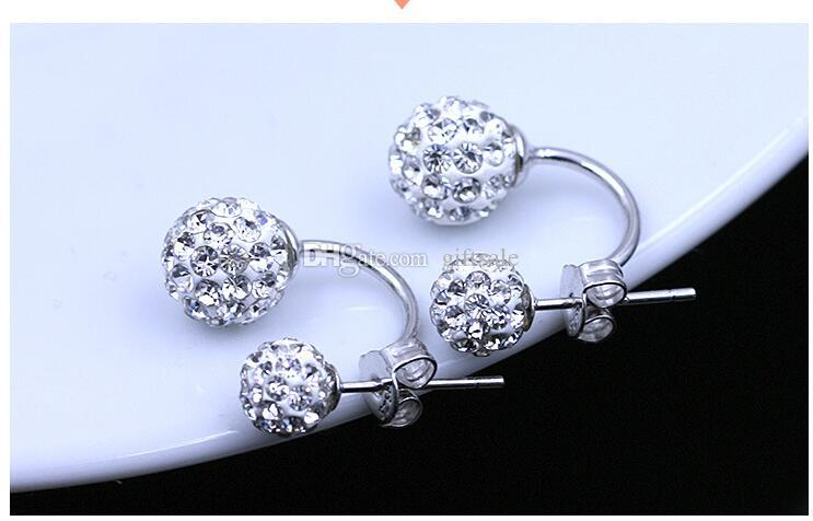 High quality 925 Sterling Silver Double sided Shambala Ball Stud Earrings Diamond Crystal disco beads Earings fine Jewelry for women girls