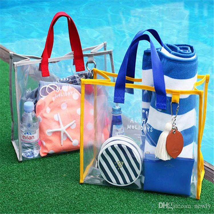 Women Bag PVC Transparent Beach Bags England Style Travel Large Capacity Handbags Fashion Female Tote Purse
