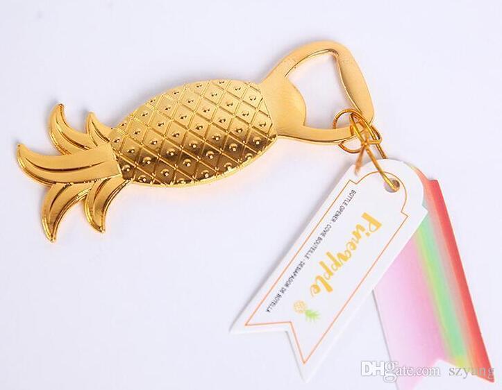 Свадебные сувениры подарки золотой металл ананас пиво открывалка для бутылок партия украшения поставки золото Ананы Comosus крышка бутылки открывалка+DHL бесплатно