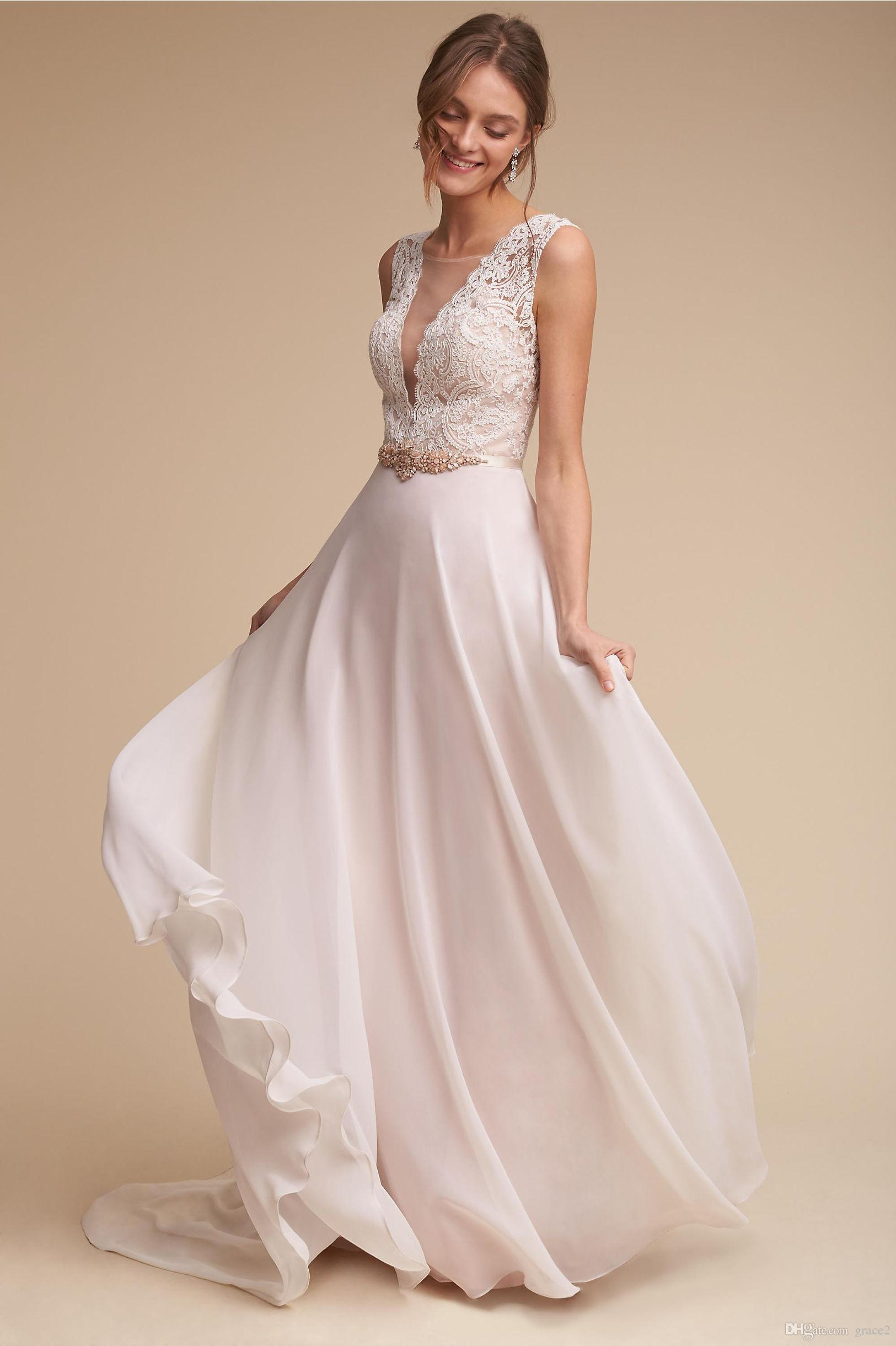 Discount Bohemian Wedding Dresses 2017 Bhldn Ivory Lace & Chiffon