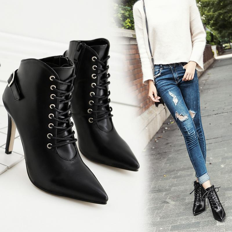 Women s Fashion Sexy Lace Ups High Heels Pointy Toe Booty Stiletto ... 927faca2cc37