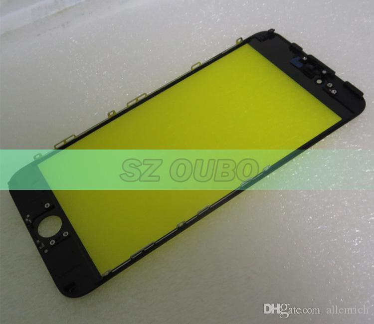 Original Front Outer LCD Glass With Bezel Frame for iPhone 6Plus 5.5'' inch Cold Press Black /White Color