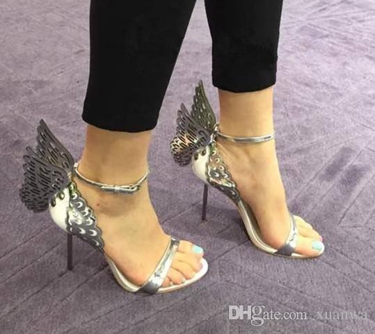 Sophia Webster Evangeline Angel-Wing High Heel Sandalo New Butterfly Strass Sandali in pelle con borchie con sandali tacco fine EUR Dimensione 34-42