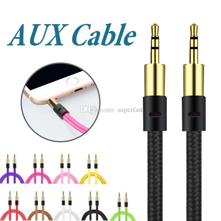 Örgü 3.5mm Yardımcı Kordon Erkek AUX Kablosu Stereo Ses Kablosu Araç Ses Kulaklık Jack PC iPad Paketi olmadan