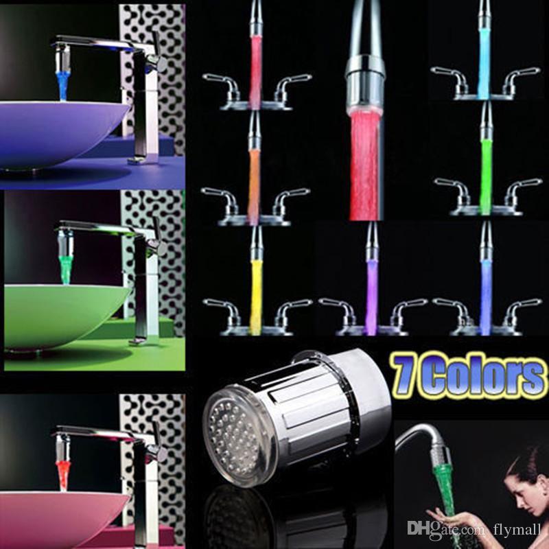 7 Renk Değişimi LED Su Duş Başlığı Işık RGB Sıcaklık Kontrollü Glow En Musluk Mutfak Banyo Için Adaptör Ile LED Musluk dokunun