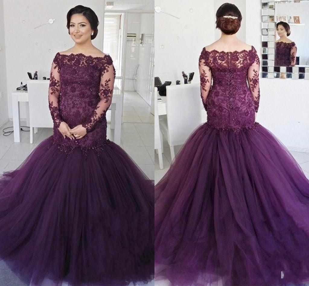Elegant Deep Purple Long Sleeves Mermaid Prom Dresses 2018 Off The ...