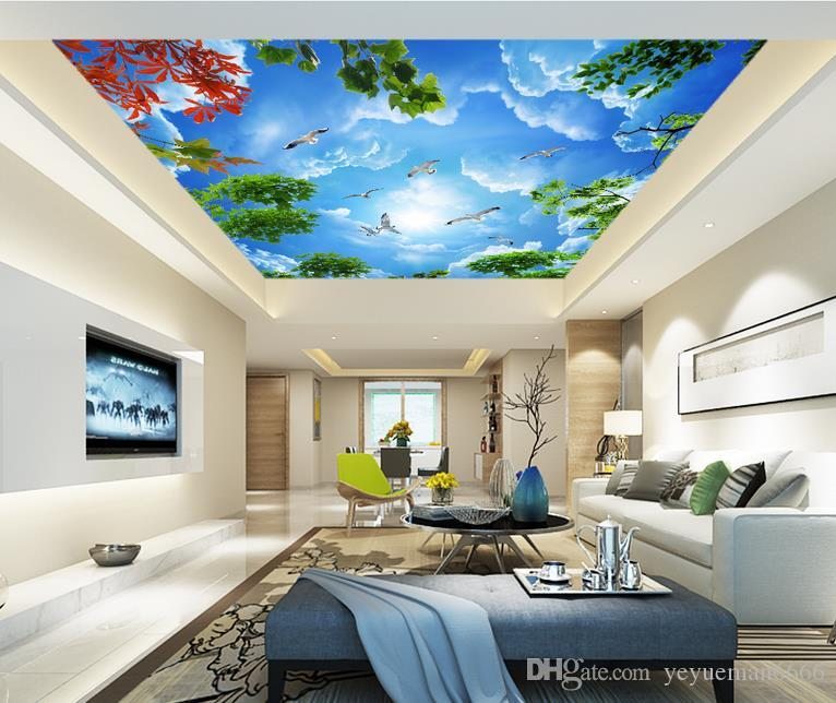 تخصيص 3D الجداريات خلفية لسقوف السماء الزرقاء والفروع البيضاء لغرفة النوم خلفية السقف