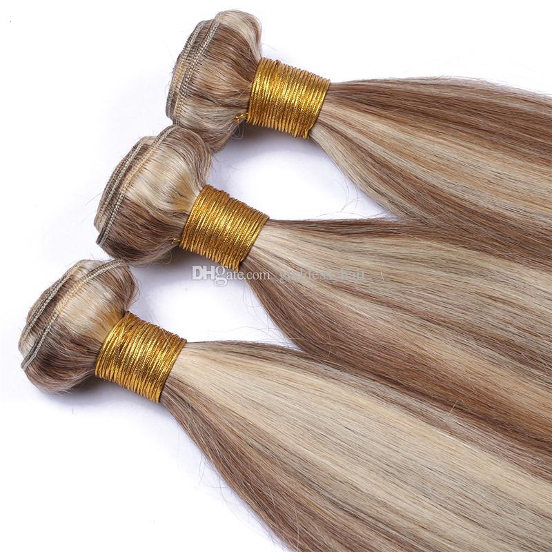 Paquetes de cabello humano de la Virgen brasileña mezcla de color de piano # 8 # 613 Trama de pelo liso sedoso Medio Marrón y rubio Extensiones de cabello 10-30 pulgadas