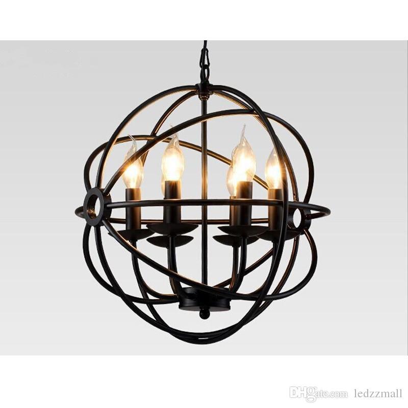 Großhandel Beleuchtung Wiederherstellung Hardware Vintage Pendelleuchte  Foucaultu0027s Iron Orb Kronleuchter Rustic Eisen Rh Loft Licht Globe Style  65cm 80cm ...
